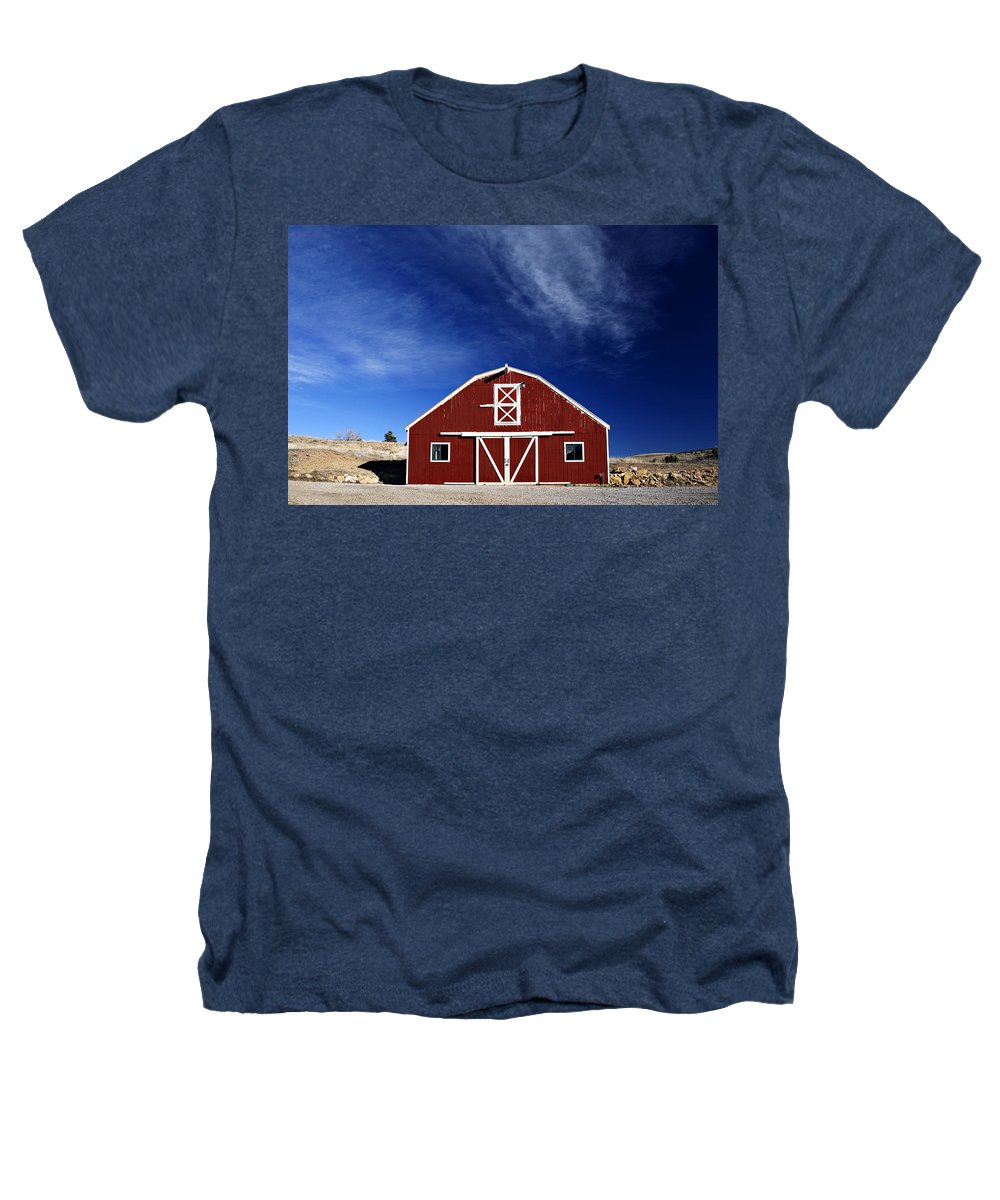 Americana Heathers T-Shirt featuring the photograph Red And White Barn by Marilyn Hunt