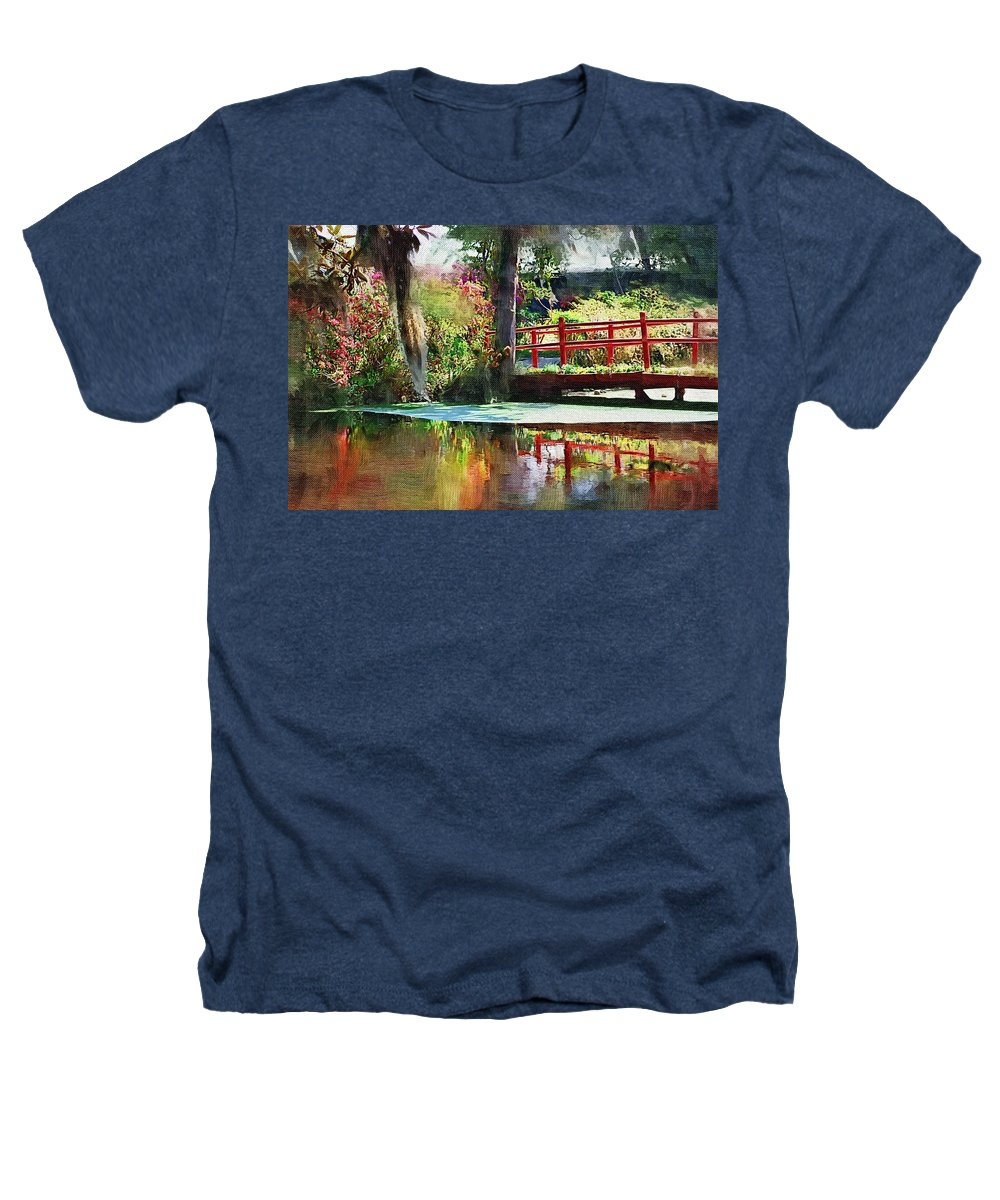 Red Bridge Heathers T-Shirt featuring the photograph Red Bridge by Donna Bentley