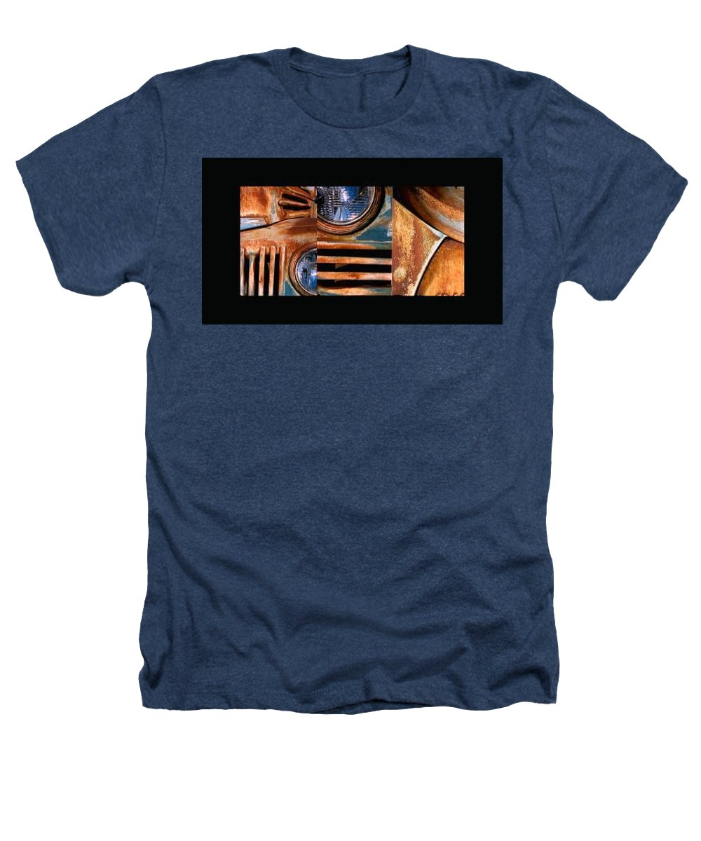 Abstract Photo Of Chevy Truck Heathers T-Shirt featuring the photograph Red Head On by Steve Karol