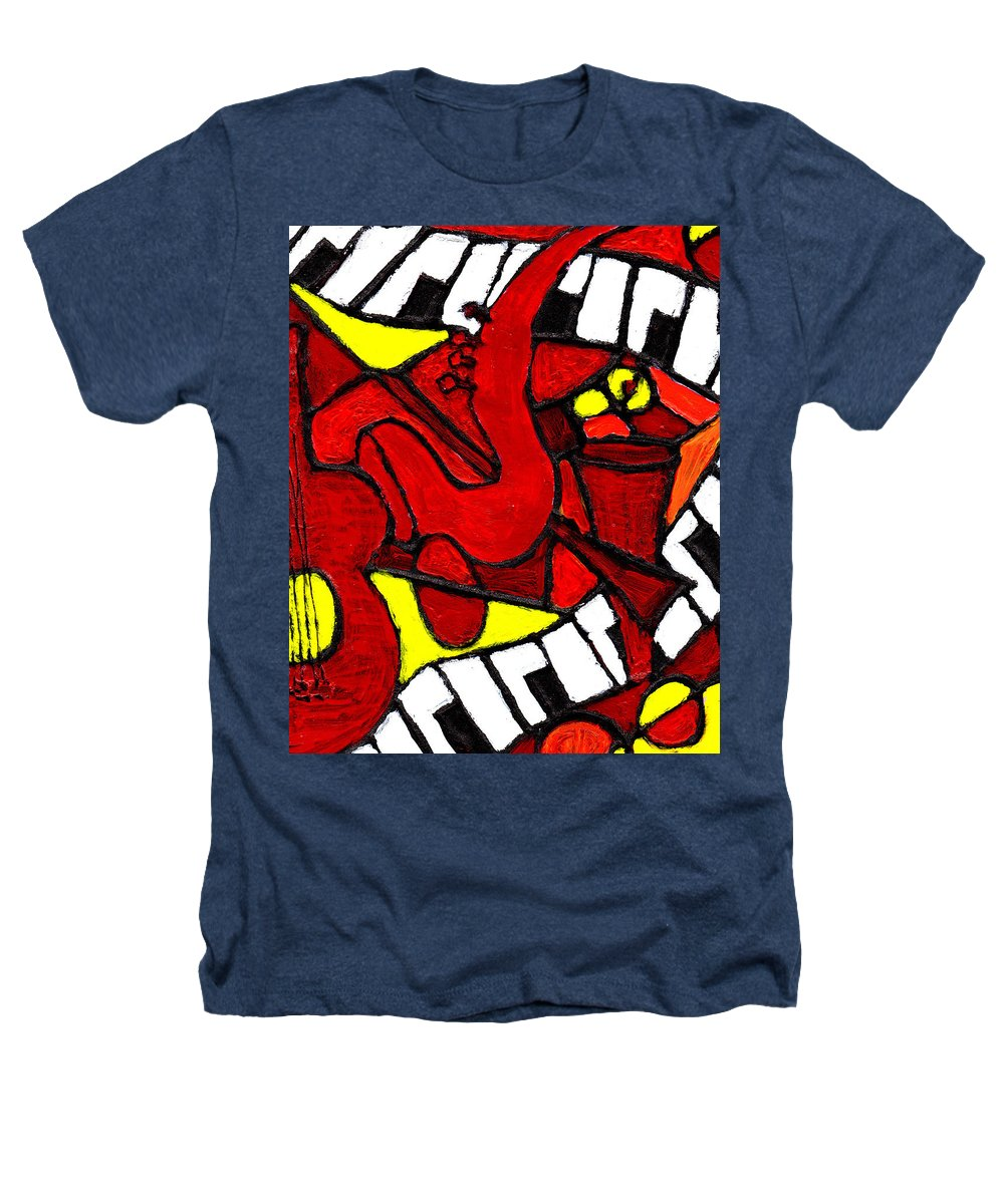 Jazz Heathers T-Shirt featuring the painting Red Hot Jazz by Wayne Potrafka
