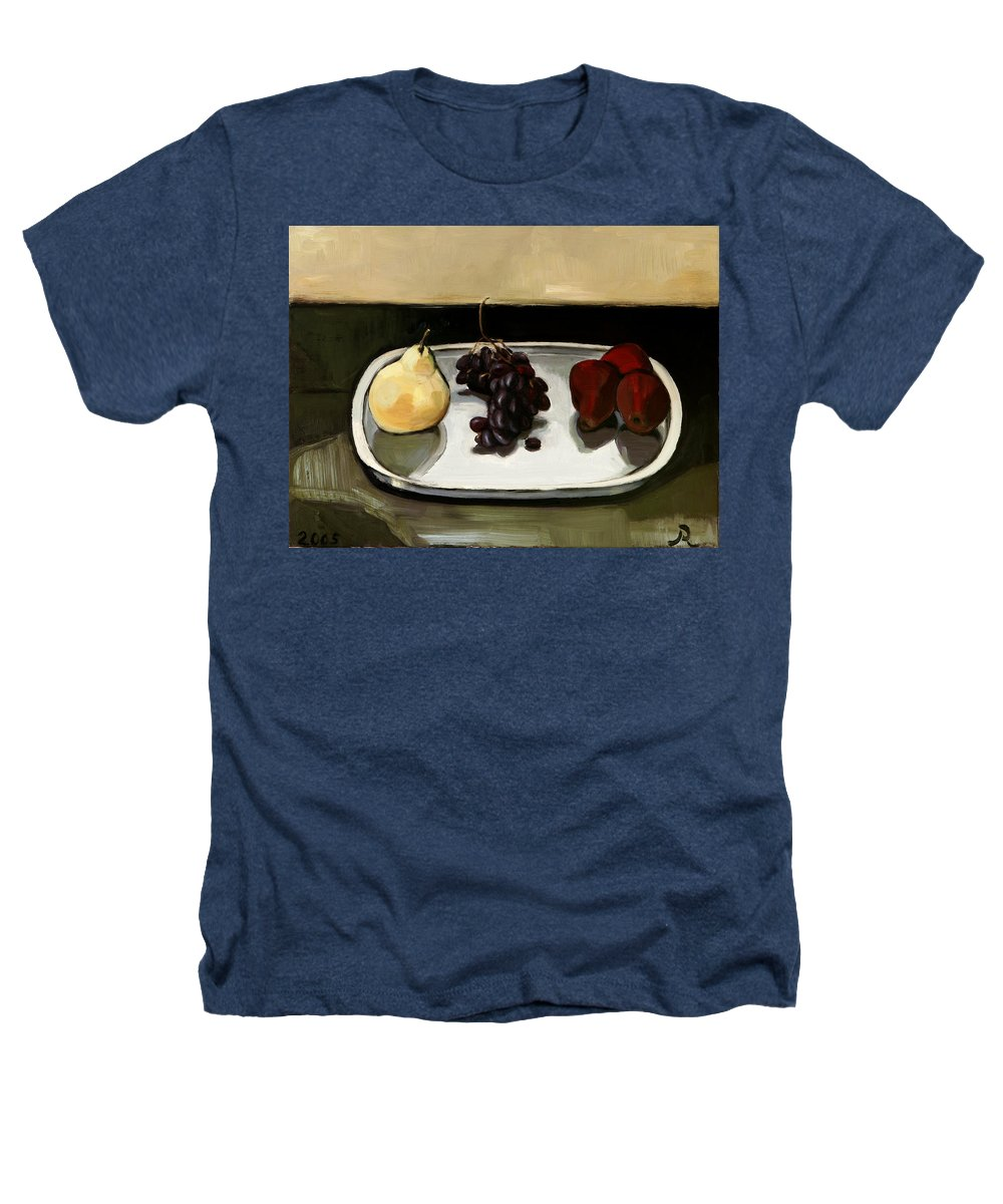 Still-life Grapes Pears Heathers T-Shirt featuring the painting Red Pears by Raimonda Jatkeviciute-Kasparaviciene