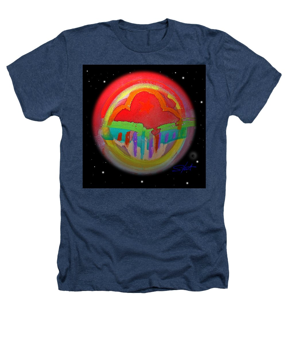 Landscape Heathers T-Shirt featuring the painting Red Planet by Charles Stuart