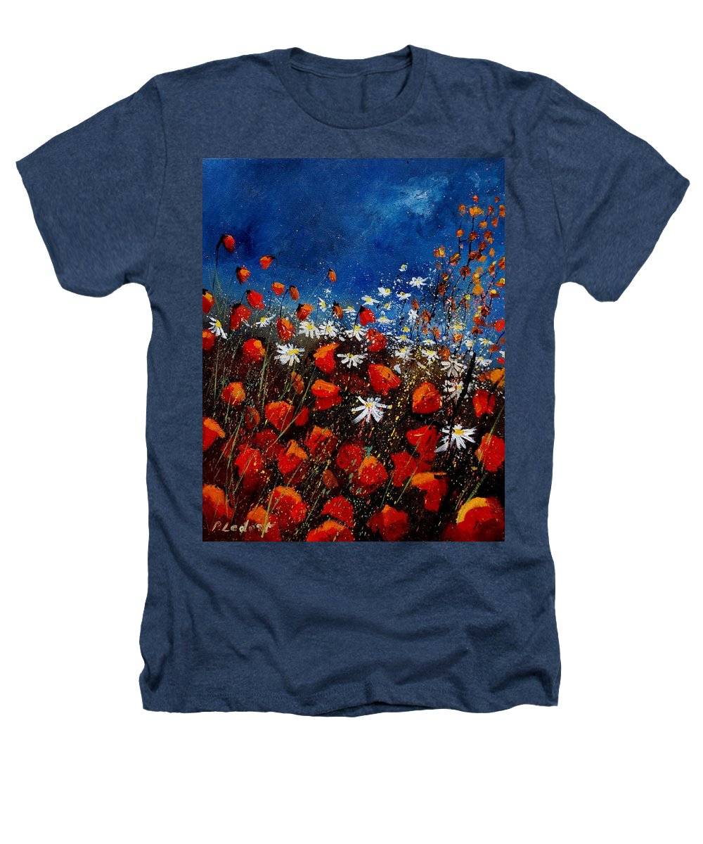 Flowers Heathers T-Shirt featuring the painting Red Poppies 451108 by Pol Ledent