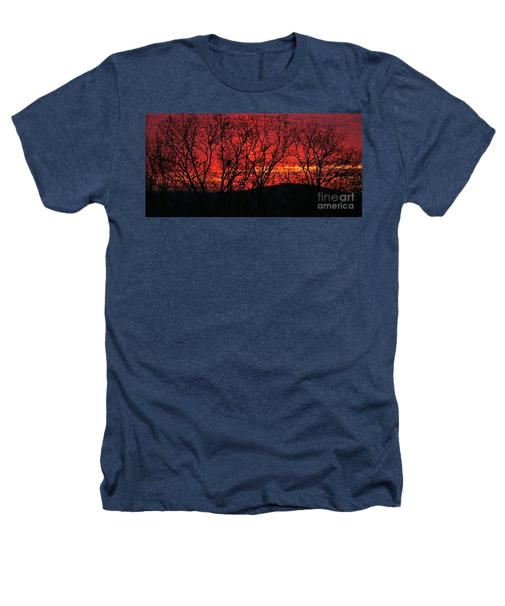 Sunrise Heathers T-Shirt featuring the photograph Red Sunrise Over The Ozarks by Nadine Rippelmeyer