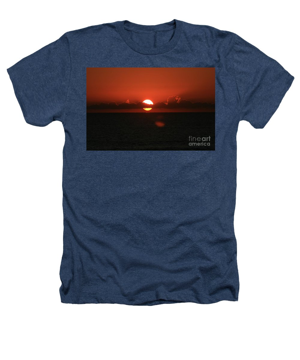 Sunset Heathers T-Shirt featuring the photograph Red Sunset Over The Atlantic by Nadine Rippelmeyer