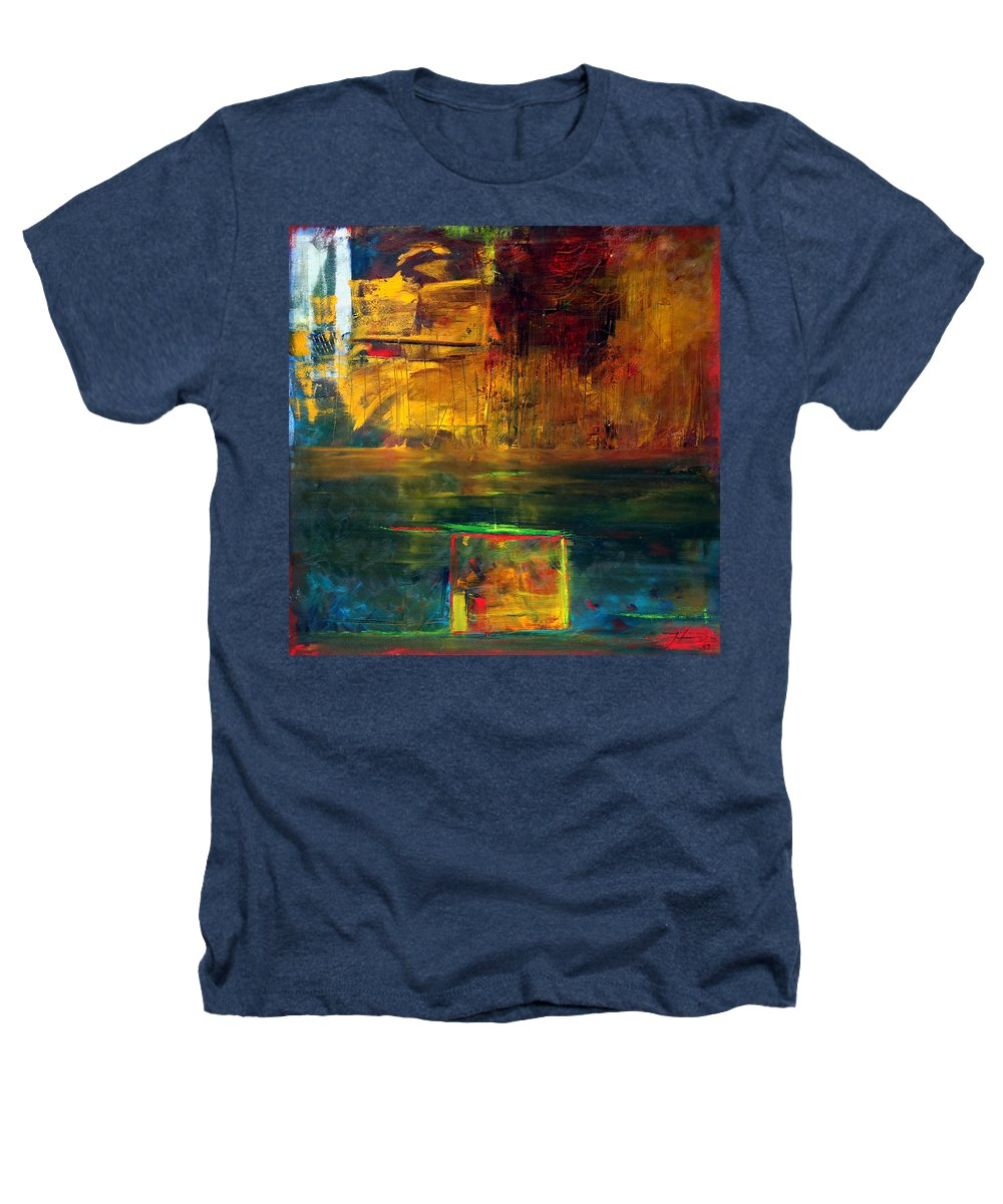 New York City Reflection Red Yellow Blue Green Heathers T-Shirt featuring the painting Reflections Of New York by Jack Diamond