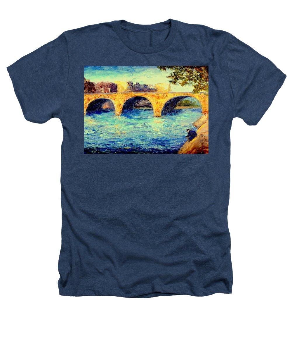 Impressionism Heathers T-Shirt featuring the painting River Seine Bridge by Gail Kirtz