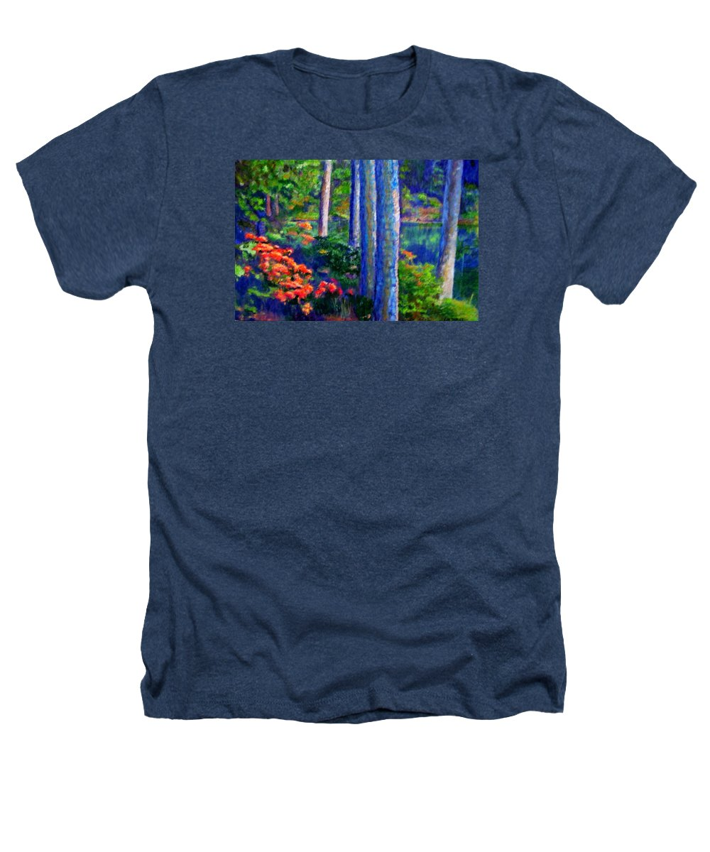 River Heathers T-Shirt featuring the painting Rivers Edge by Michael Durst