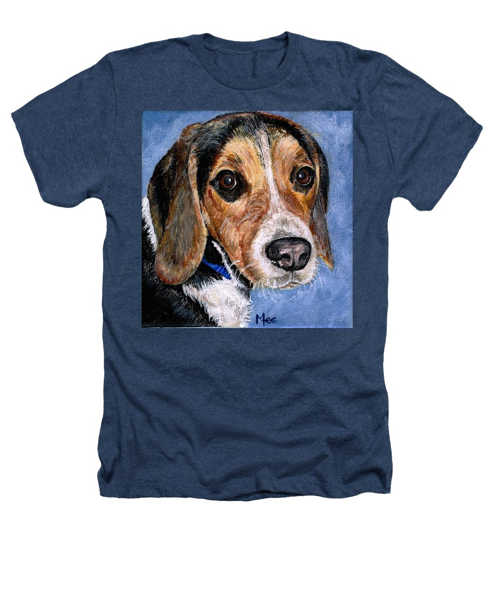 Dog Heathers T-Shirt featuring the painting Rocky by Mary-Lee Sanders