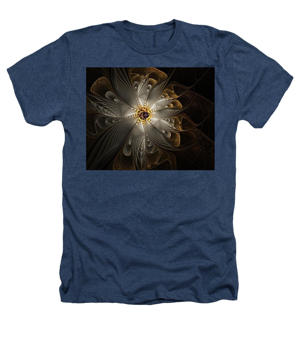 Digital Art Heathers T-Shirt featuring the digital art Rosette In Gold And Silver by Amanda Moore