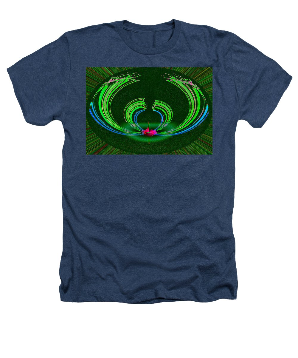 Ruby Heathers T-Shirt featuring the digital art Ruby Singularity In Emerald Sapphire Nest by Don Quackenbush