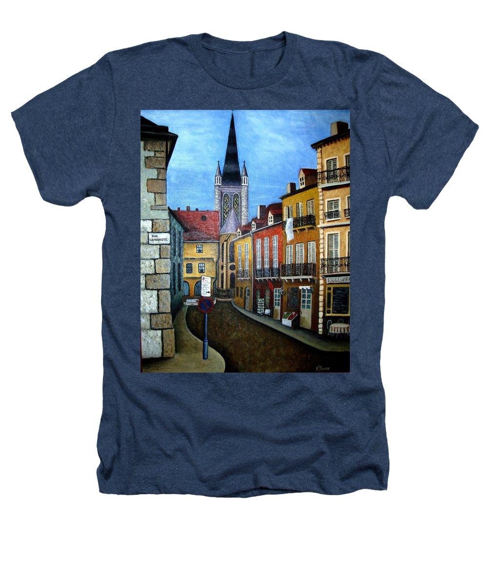 Street Scene Heathers T-Shirt featuring the painting Rue Lamonnoye In Dijon France by Nancy Mueller