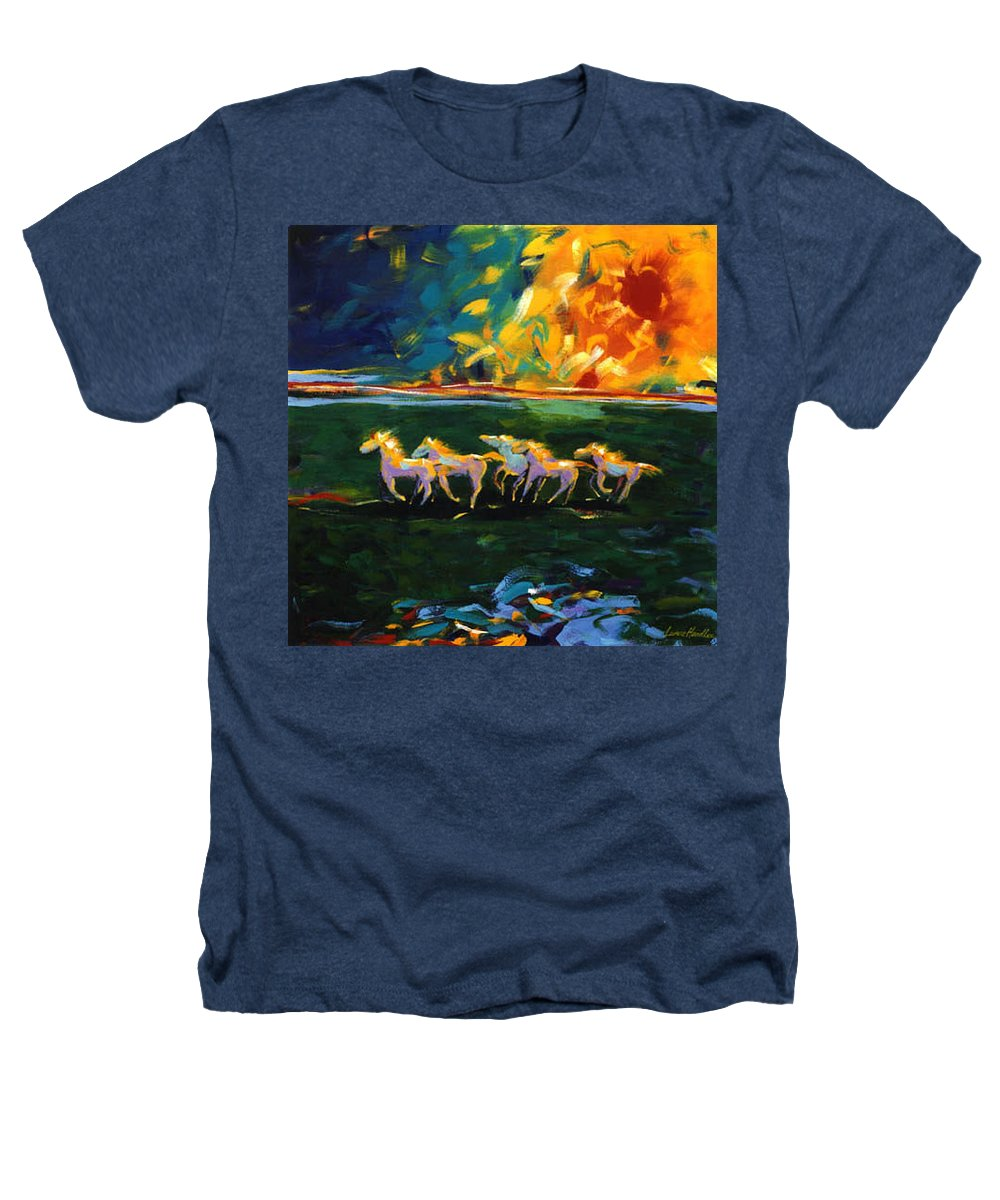 Abstract Horse Heathers T-Shirt featuring the painting Run From The Sun by Lance Headlee