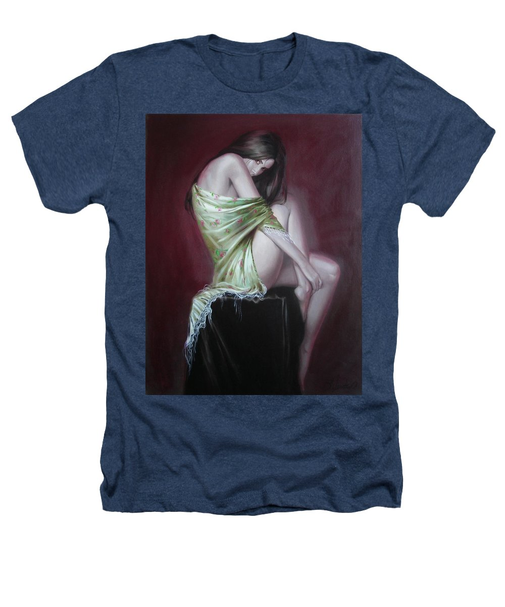 Art Heathers T-Shirt featuring the painting Russian Model by Sergey Ignatenko