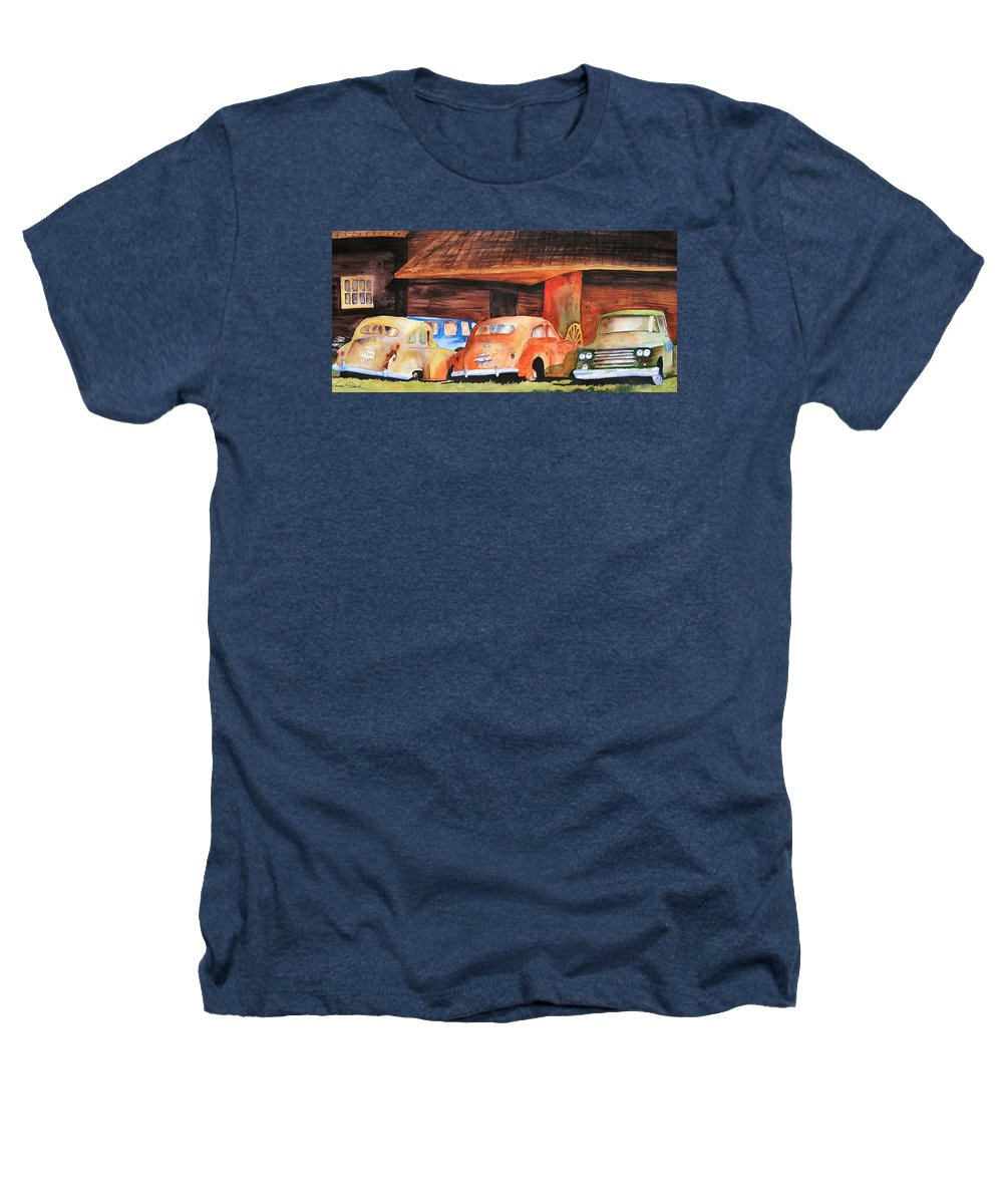 Car Heathers T-Shirt featuring the painting Rusting by Karen Stark