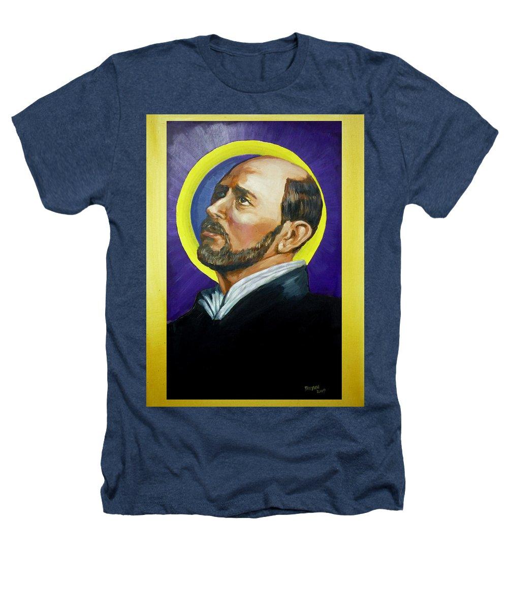 Saint Heathers T-Shirt featuring the painting Saint Ignatius Loyola by Bryan Bustard