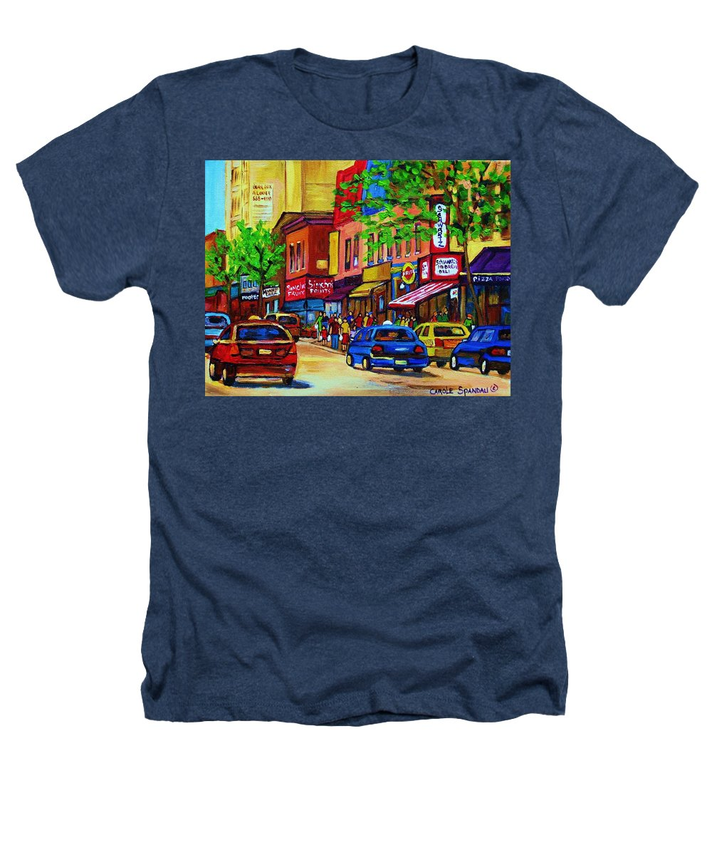 Cityscape Heathers T-Shirt featuring the painting Saint Lawrence Street by Carole Spandau