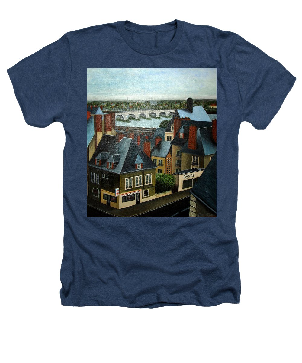 Acrylic Heathers T-Shirt featuring the painting Saint Lubin Bar In Lyon France by Nancy Mueller