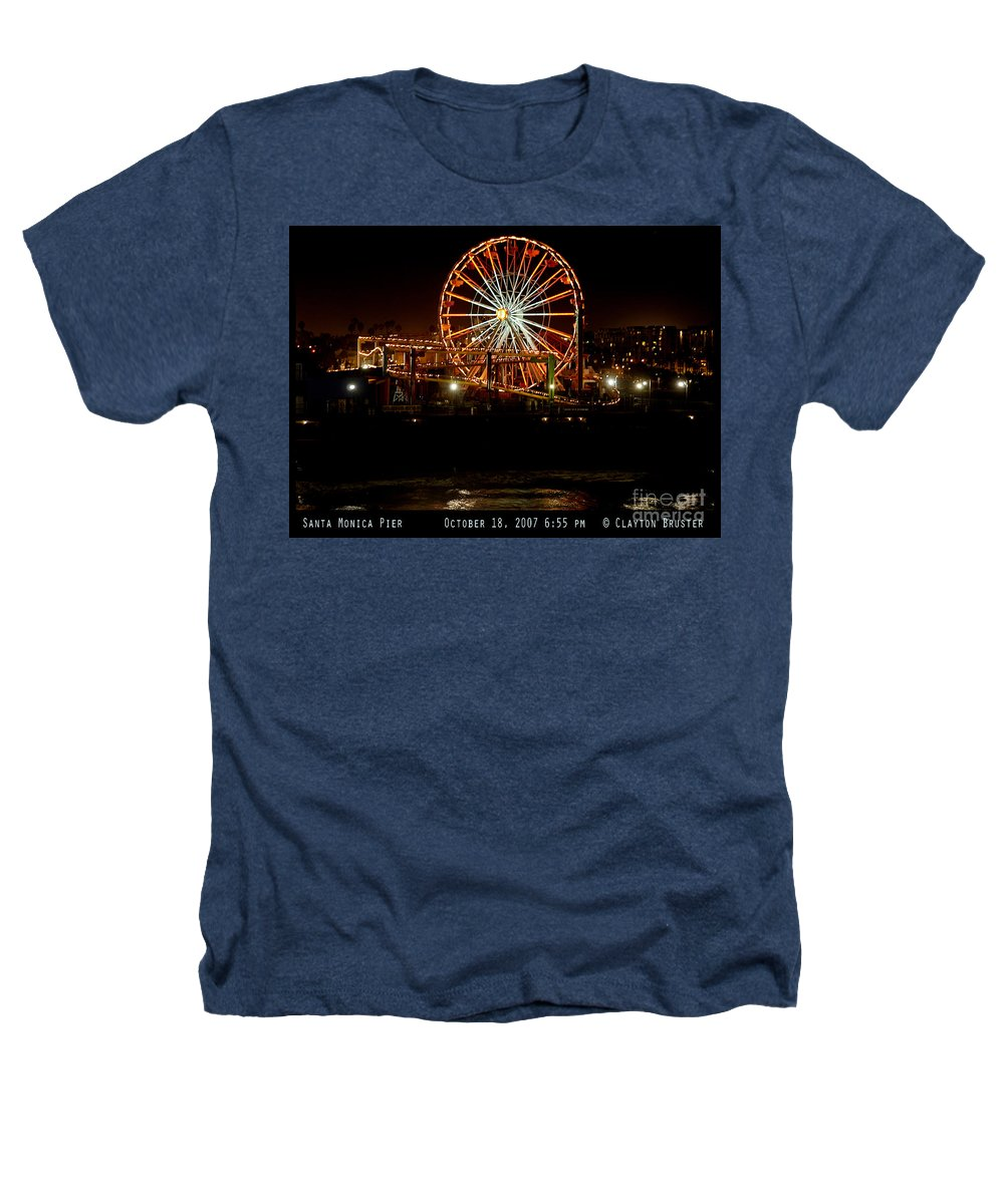 Clay Heathers T-Shirt featuring the photograph Santa Monica Pier October 18 2007 by Clayton Bruster