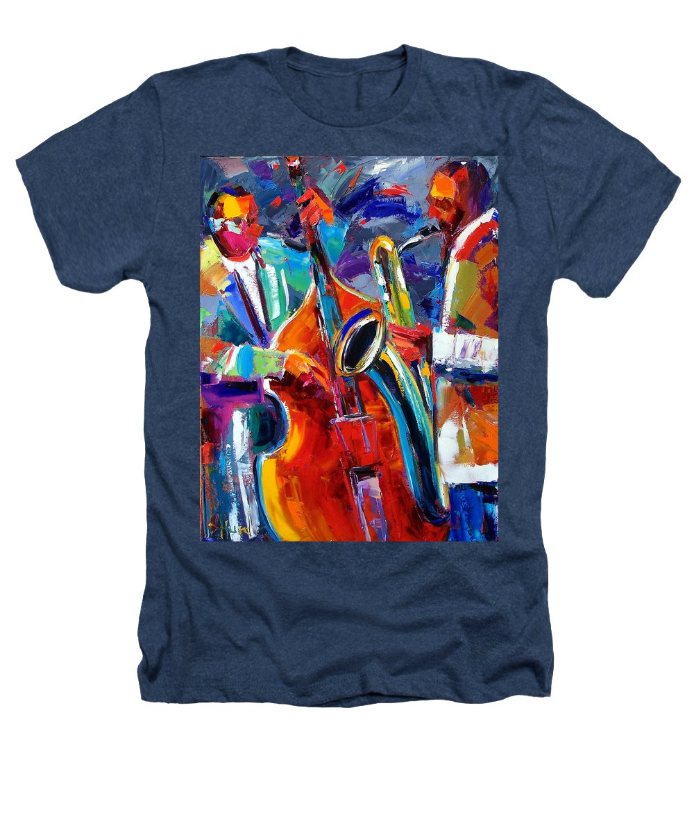 Jazz Painting Heathers T-Shirt featuring the painting Sax And Bass by Debra Hurd