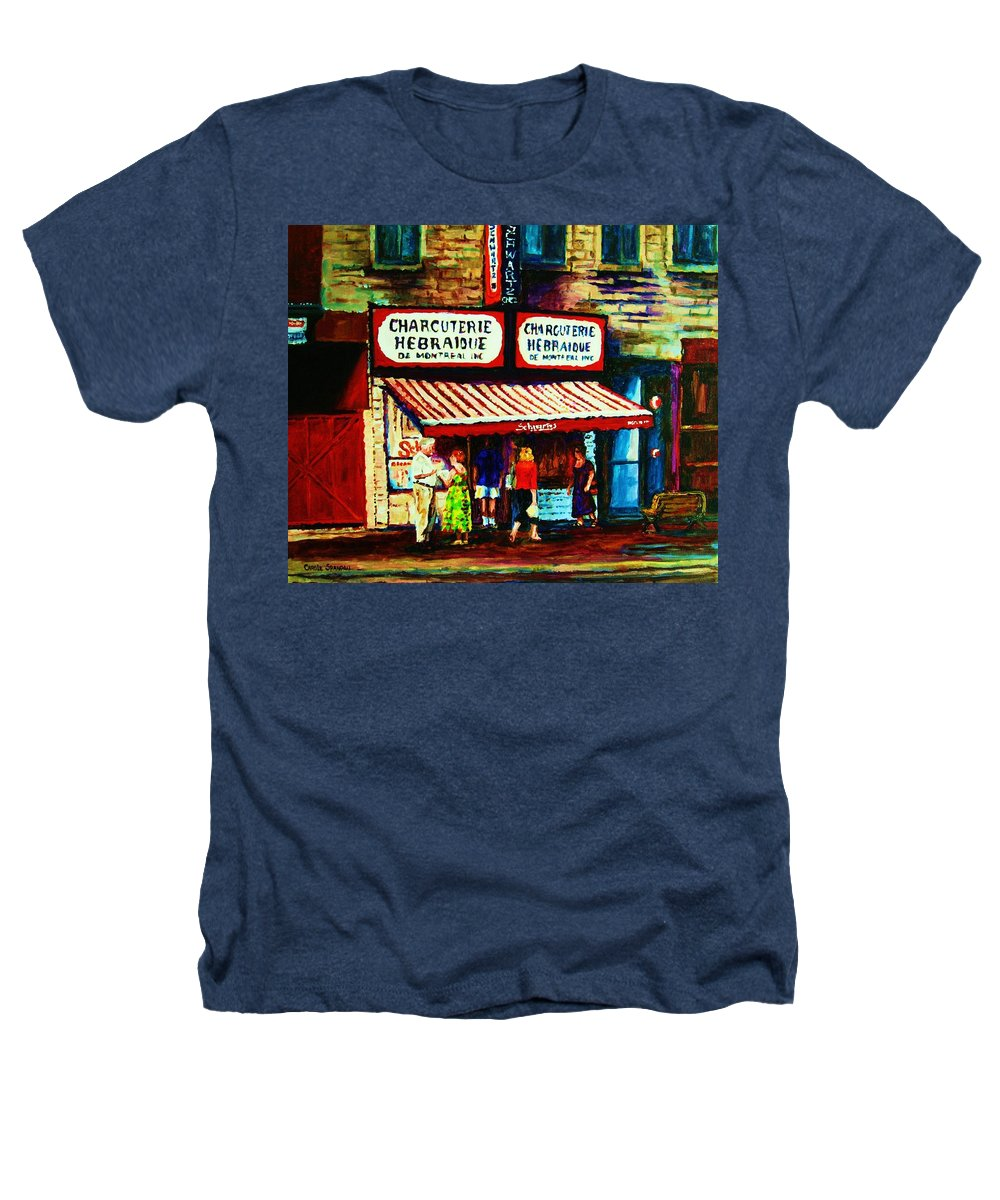 Schwartz Deli Heathers T-Shirt featuring the painting Schwartzs Famous Smoked Meat by Carole Spandau