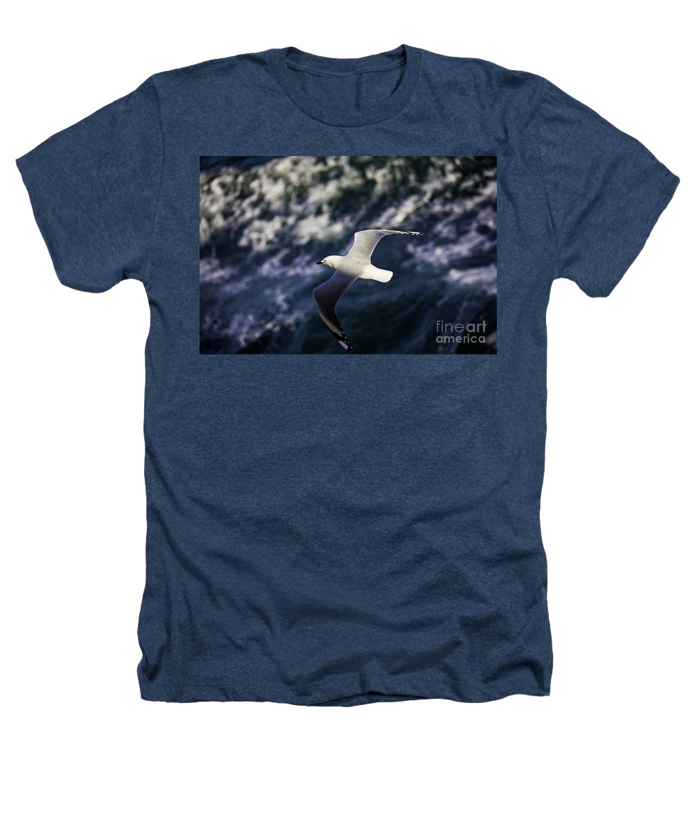 Seagull Heathers T-Shirt featuring the photograph Seagull In Wake by Avalon Fine Art Photography