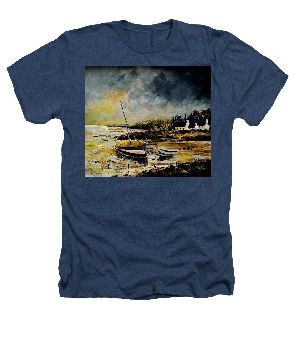 Sea Heathers T-Shirt featuring the painting Seascape 452654 by Pol Ledent