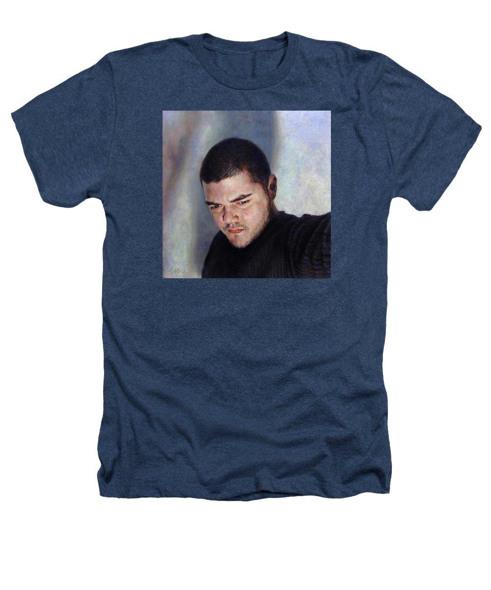 Self Heathers T-Shirt featuring the painting Self Portrait W Shadows by Joe Velez