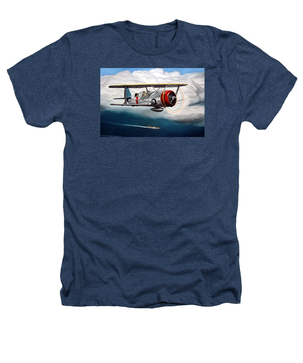 Aviation Heathers T-Shirt featuring the painting Shakedown Cruise by Marc Stewart