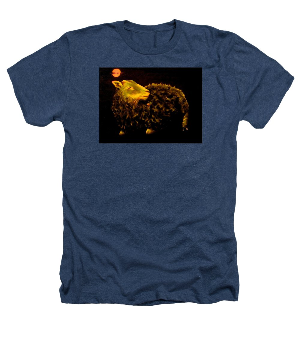 Sheep Heathers T-Shirt featuring the painting Sheep At Night by Mark Cawood