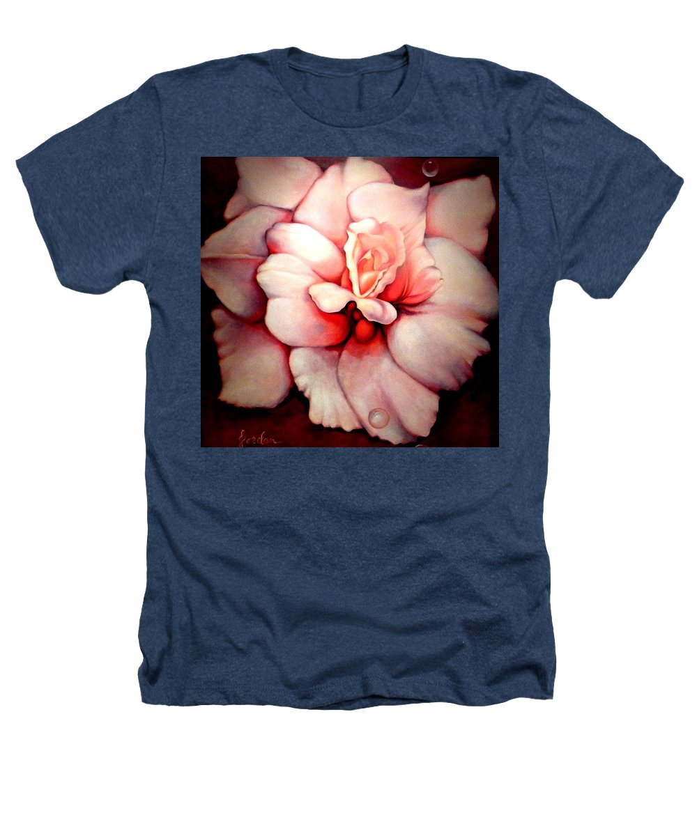 Blooms.large Rose Heathers T-Shirt featuring the painting Sheer Bliss by Jordana Sands