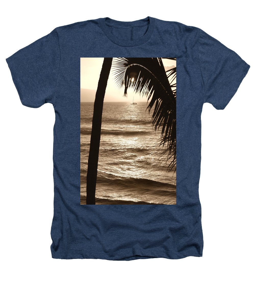 Hawaii Heathers T-Shirt featuring the photograph Ship In Sunset by Marilyn Hunt