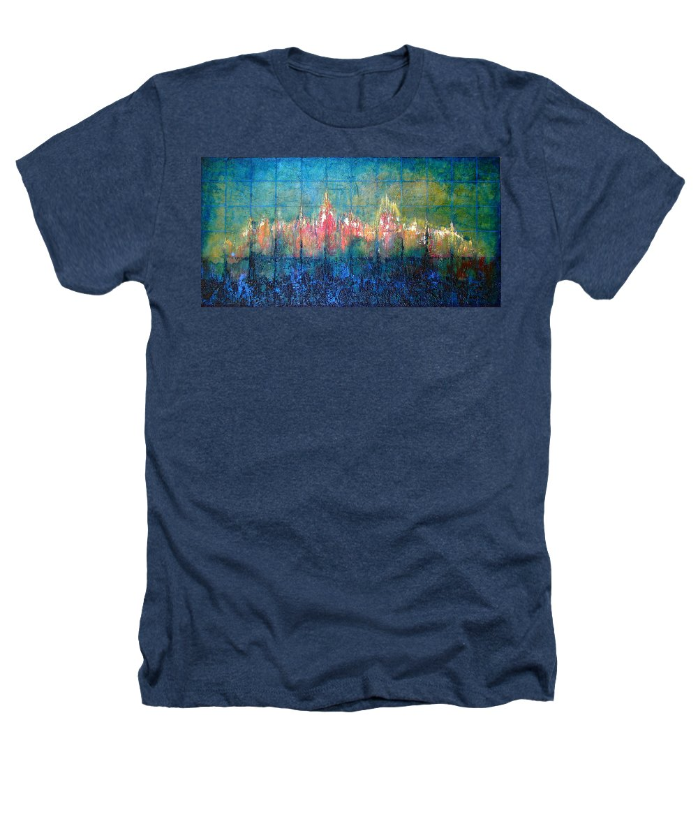 Seascape Heathers T-Shirt featuring the painting Shorebound by Shadia Derbyshire