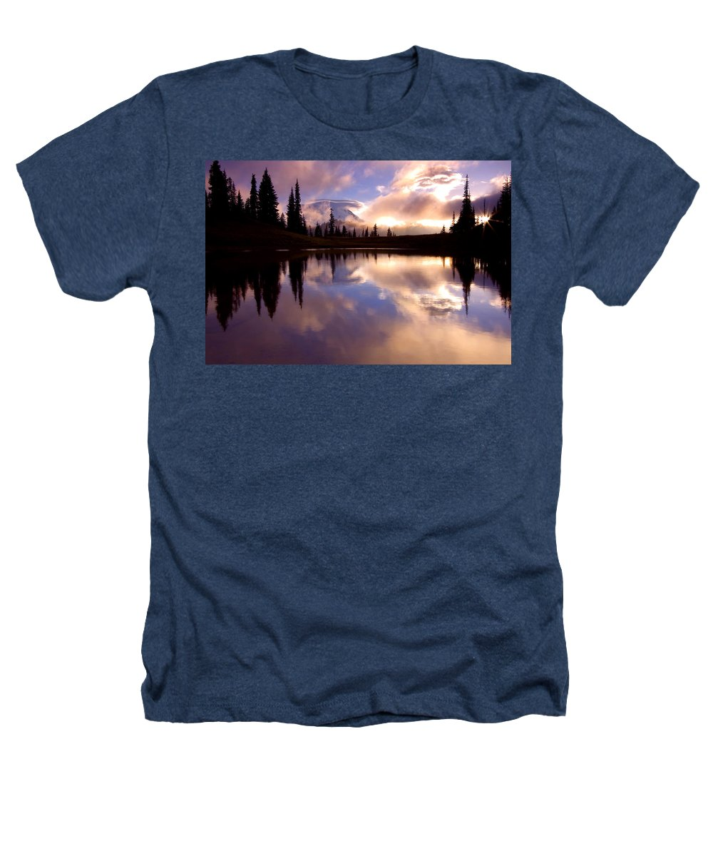 Rainier Heathers T-Shirt featuring the photograph Shrouded In Clouds by Mike Dawson