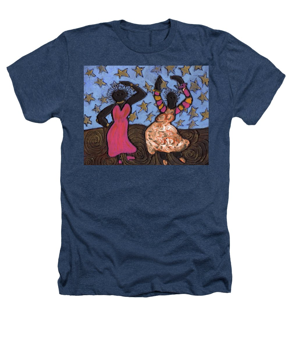 Folk Art Heathers T-Shirt featuring the painting Sisters Sarah Sue And Sally Mae Swinging The Night Away by Wayne Potrafka