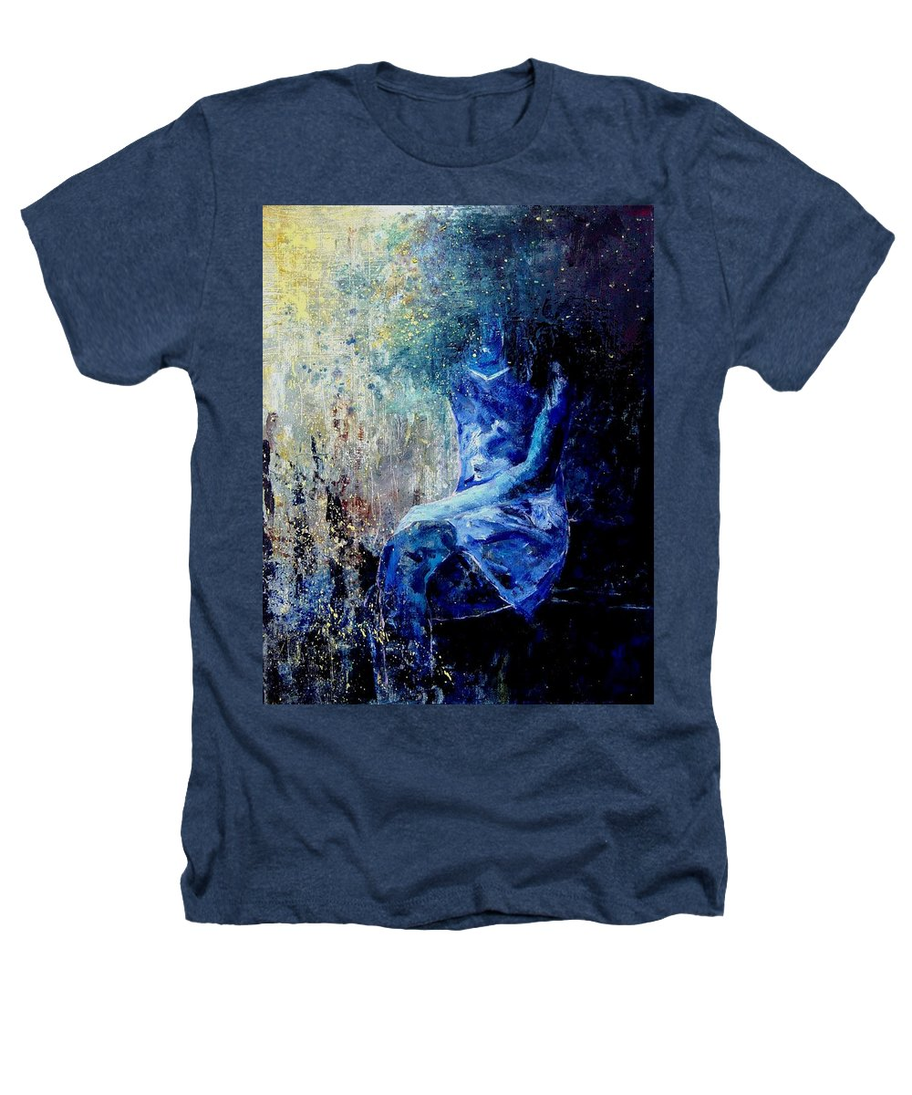 Woman Girl Fashion Heathers T-Shirt featuring the painting Sitting Young Girl by Pol Ledent