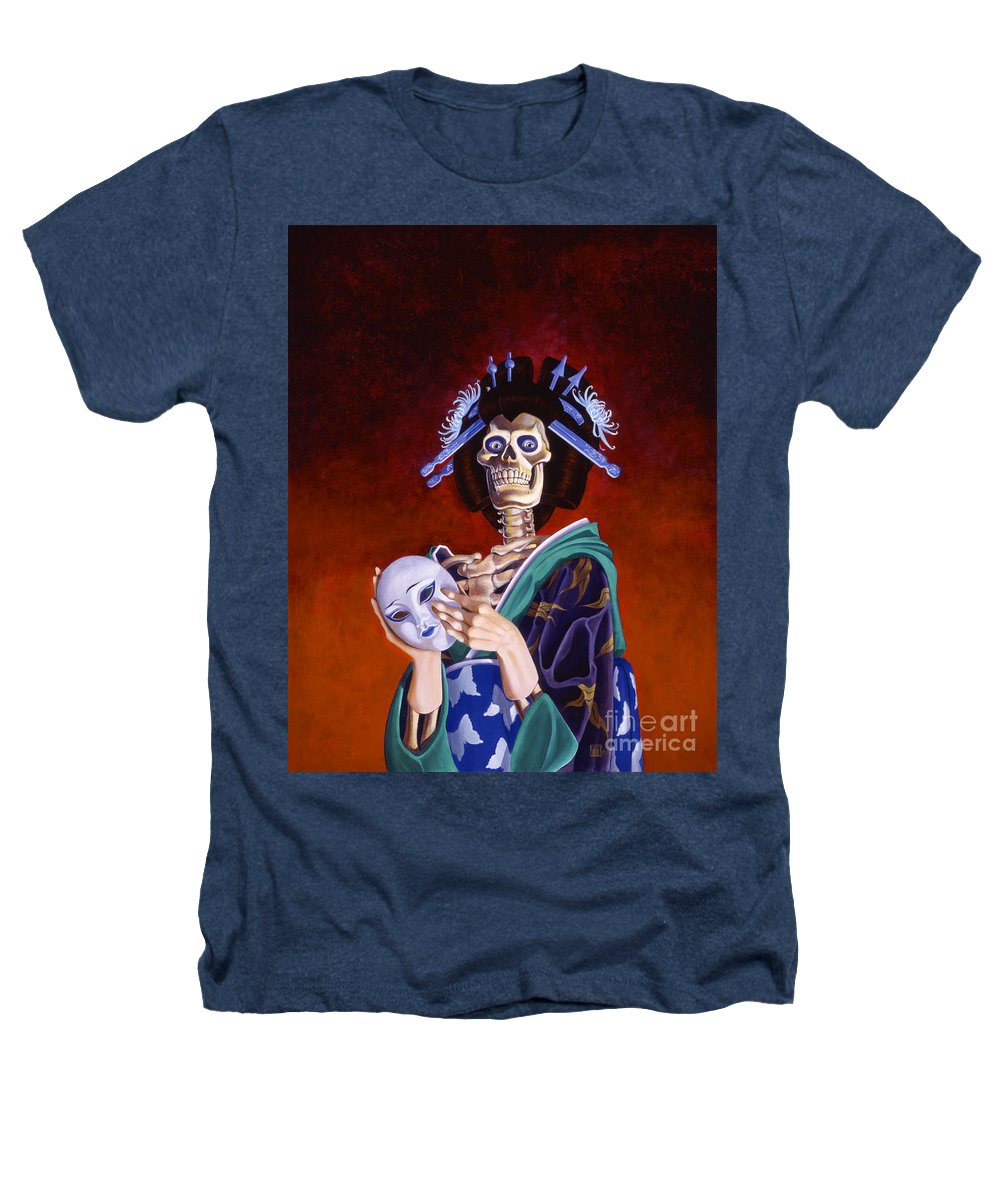 Skeleton Heathers T-Shirt featuring the painting Skeletal Geisha With Mask by Melissa A Benson