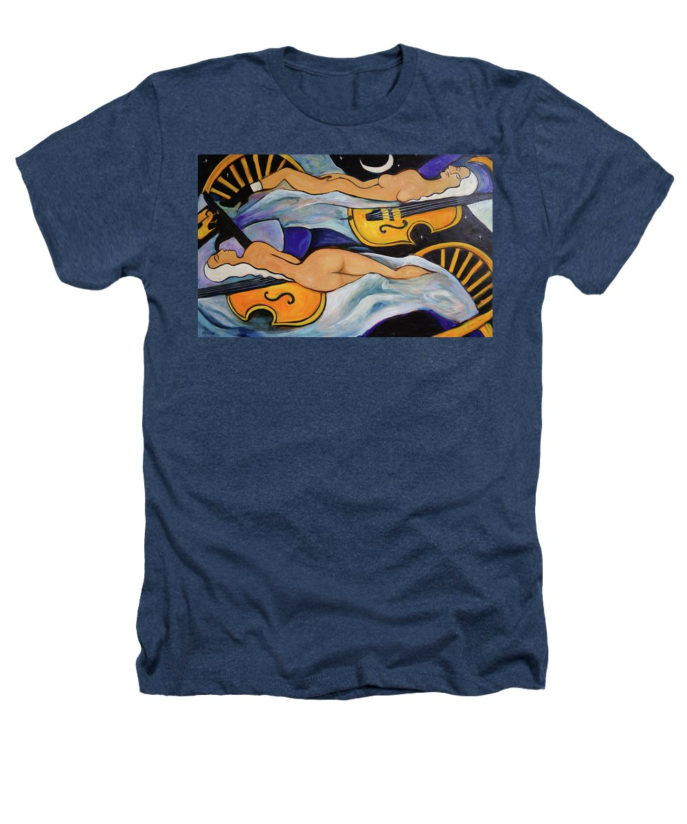 Musicians Heathers T-Shirt featuring the painting Sleeping Cellists by Valerie Vescovi
