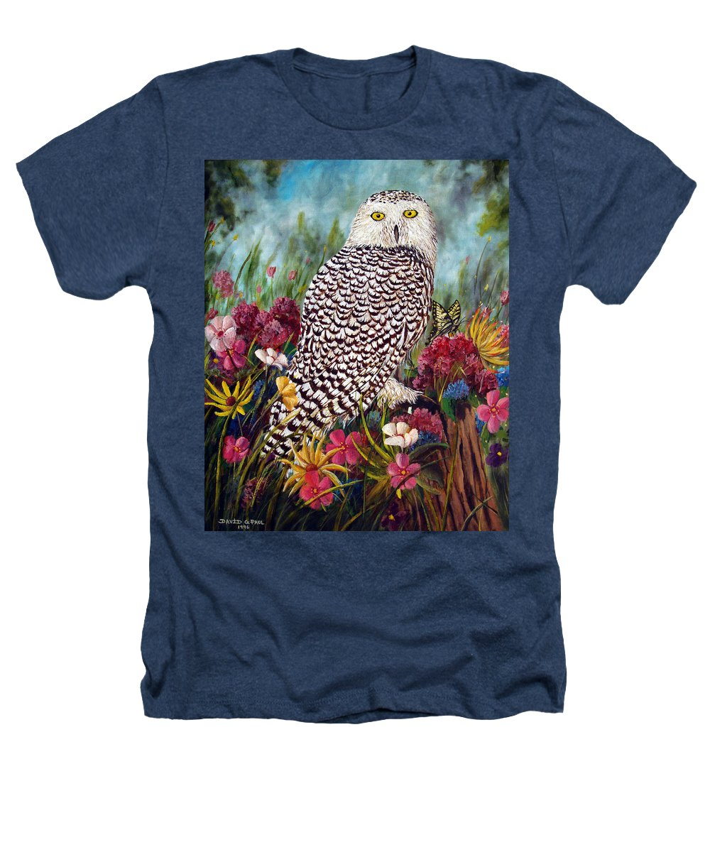 Owl Heathers T-Shirt featuring the painting Snowy Owl by David G Paul