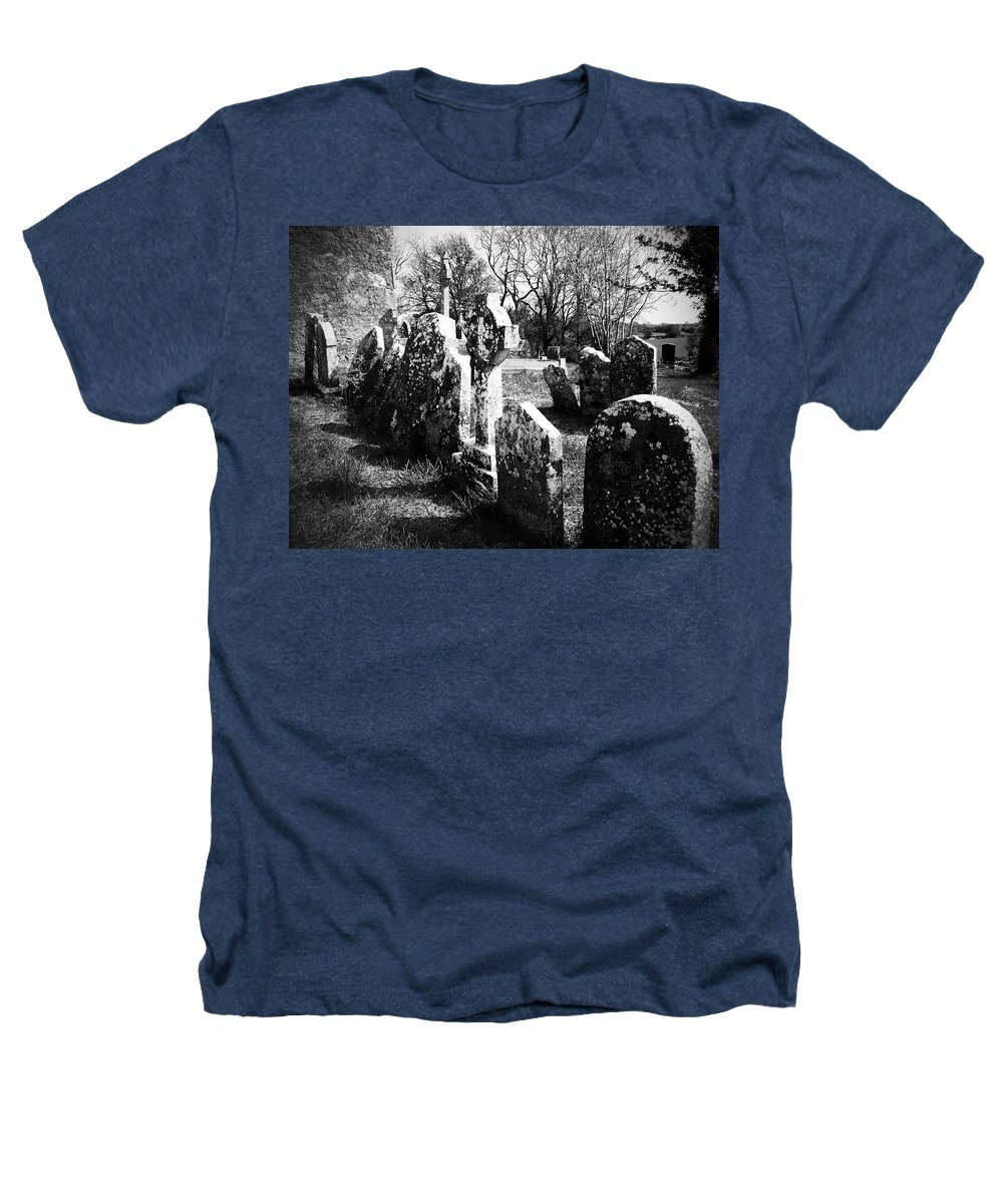 Ireland Heathers T-Shirt featuring the photograph Solitary Cross At Fuerty Cemetery Roscommon Irenand by Teresa Mucha