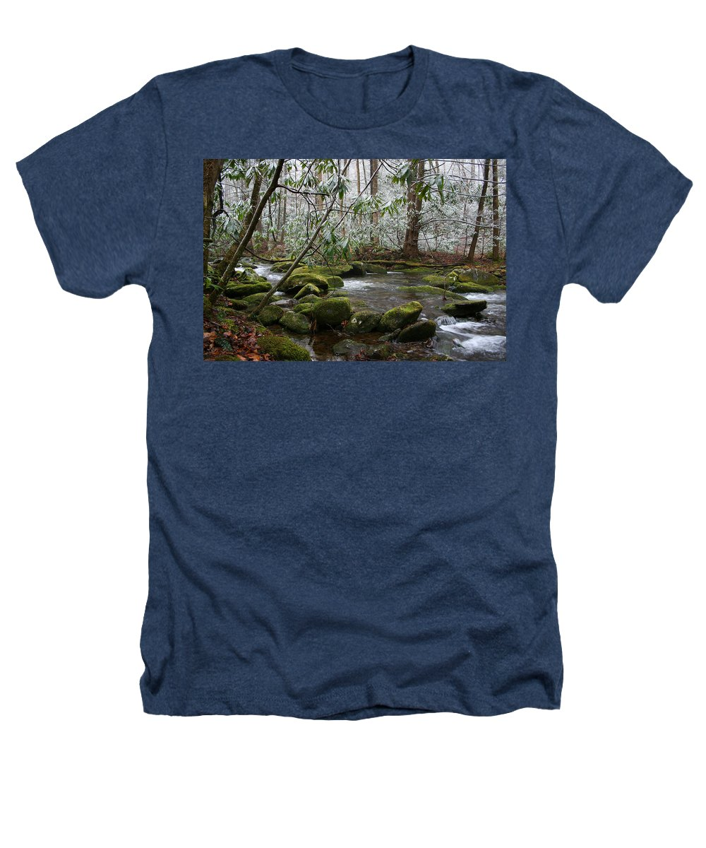 River Stream Creek Water Nature Rock Rocks Tree Trees Winter Snow Peaceful White Green Flowing Flow Heathers T-Shirt featuring the photograph Soothing by Andrei Shliakhau
