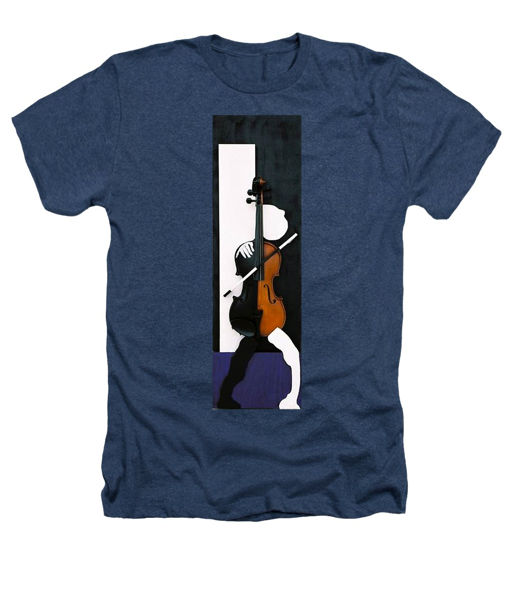 Violin Heathers T-Shirt featuring the sculpture Soul Of Music by Steve Karol