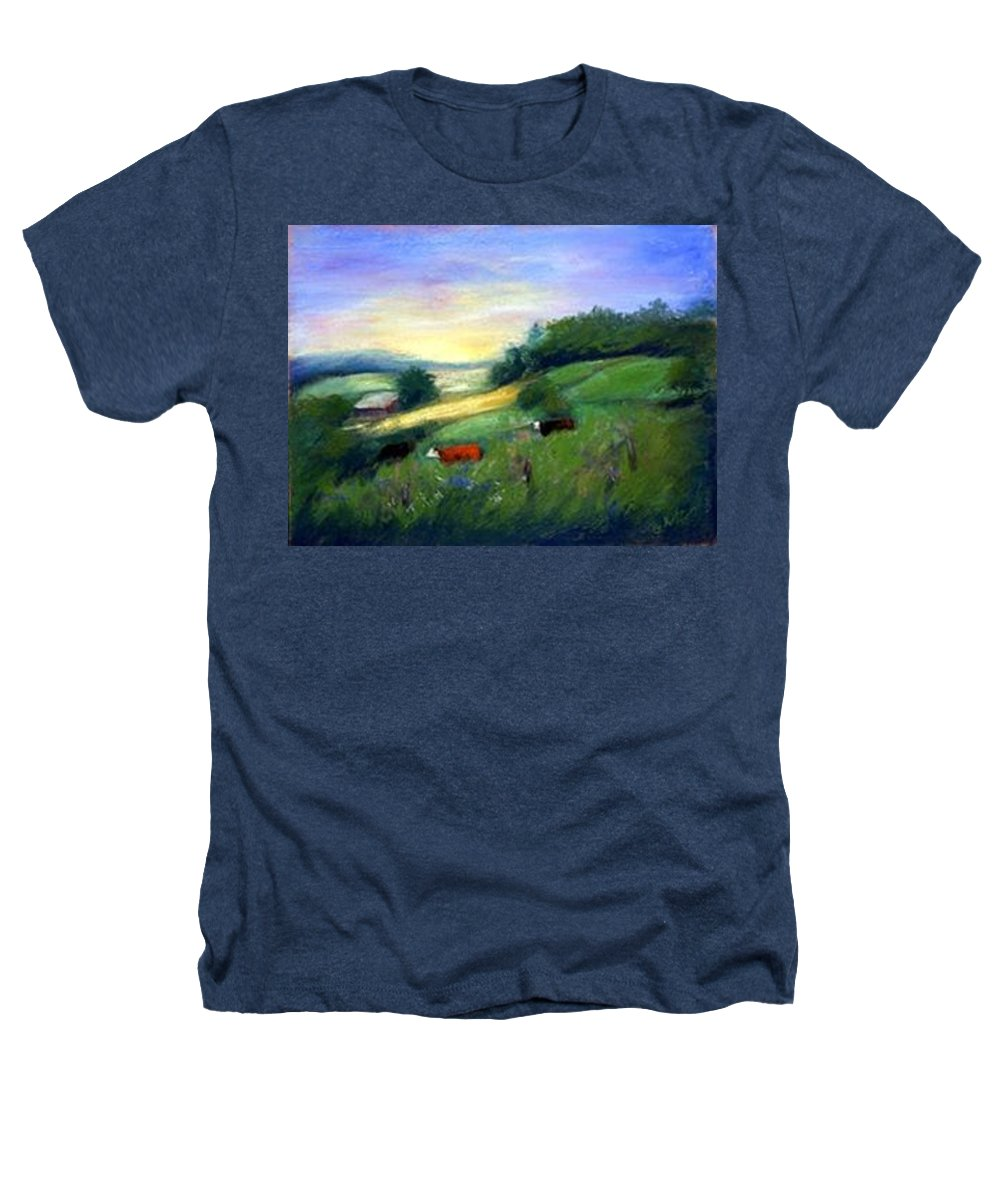 Landscape Heathers T-Shirt featuring the painting Southern Ohio Farm by Gail Kirtz