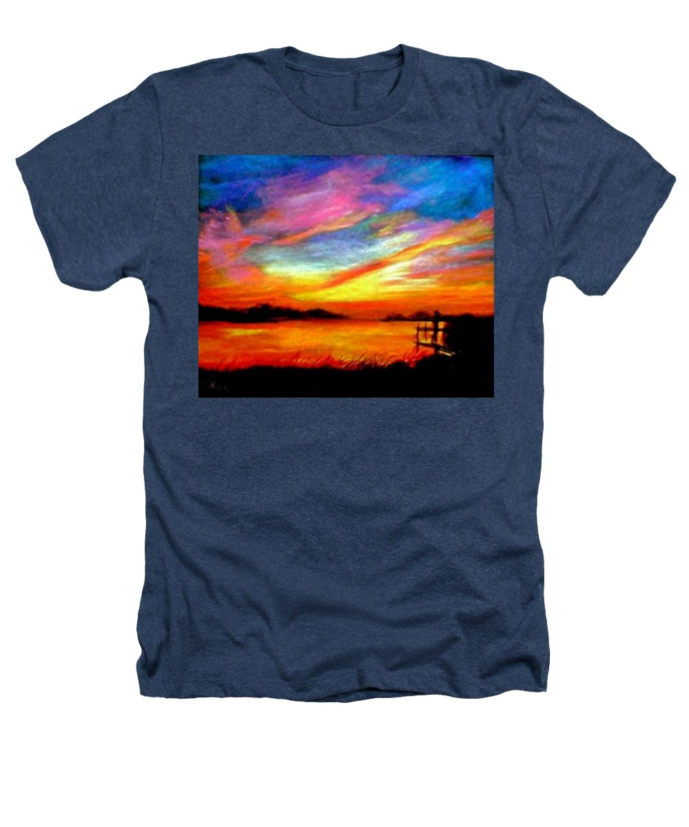 Sunset Heathers T-Shirt featuring the painting Southern Sunset by Gail Kirtz