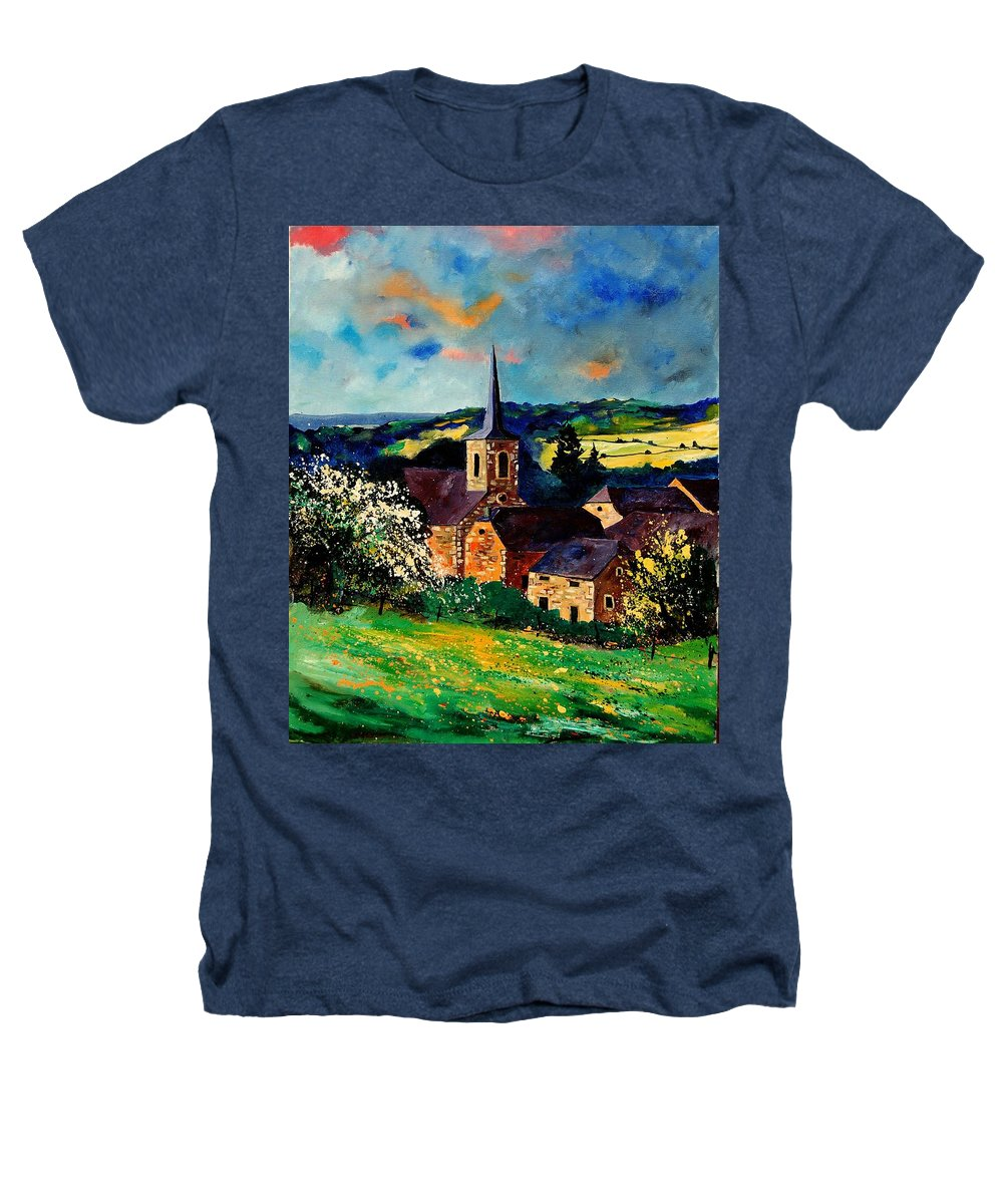 Spring Heathers T-Shirt featuring the painting Spring In Gendron by Pol Ledent
