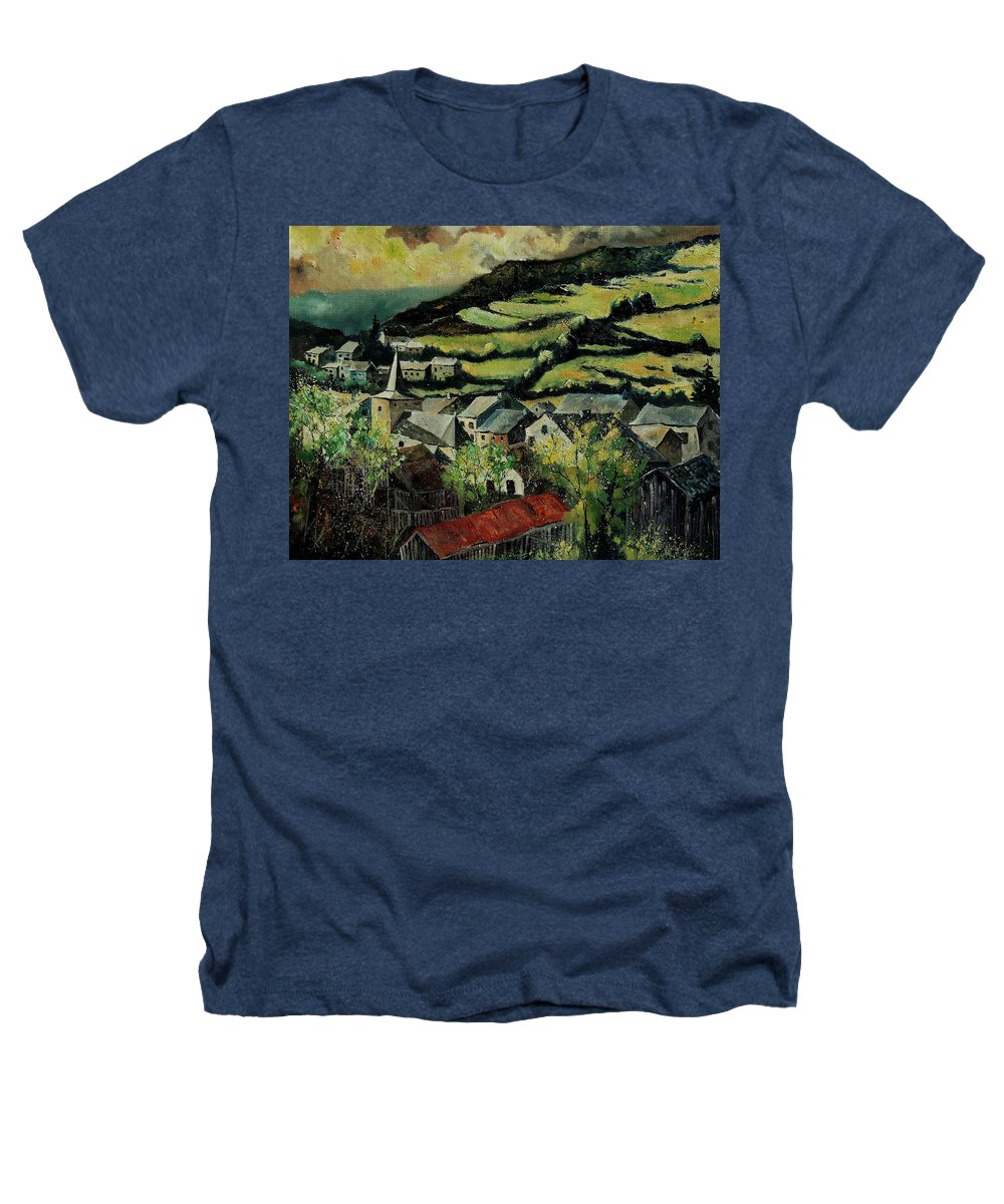 Spring Heathers T-Shirt featuring the painting Spring In Vresse Ardennes Belgium by Pol Ledent