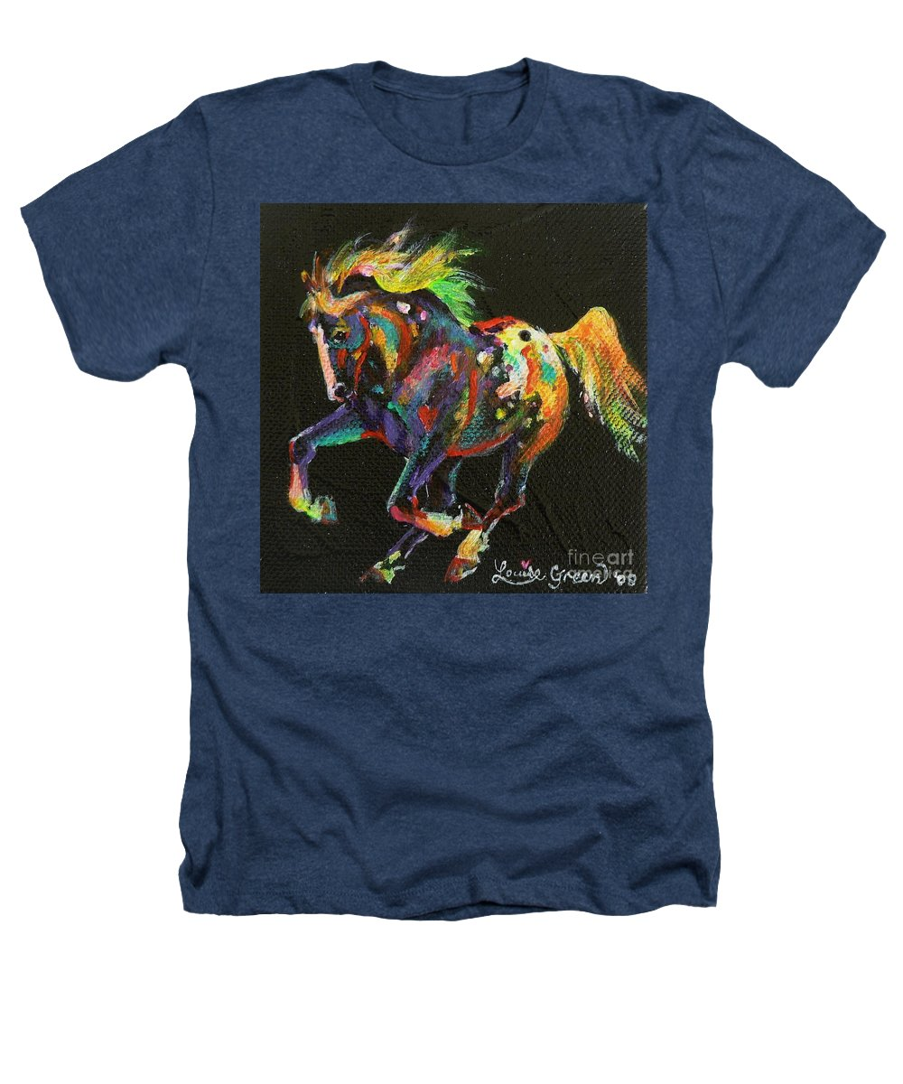 Starburst Pony Heathers T-Shirt featuring the painting Starburst Pony by Louise Green