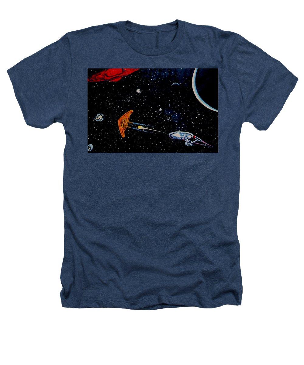 Startrel.scoemce Foxopm.s[ace.[;amets.stars Heathers T-Shirt featuring the painting Startrek by Stan Hamilton