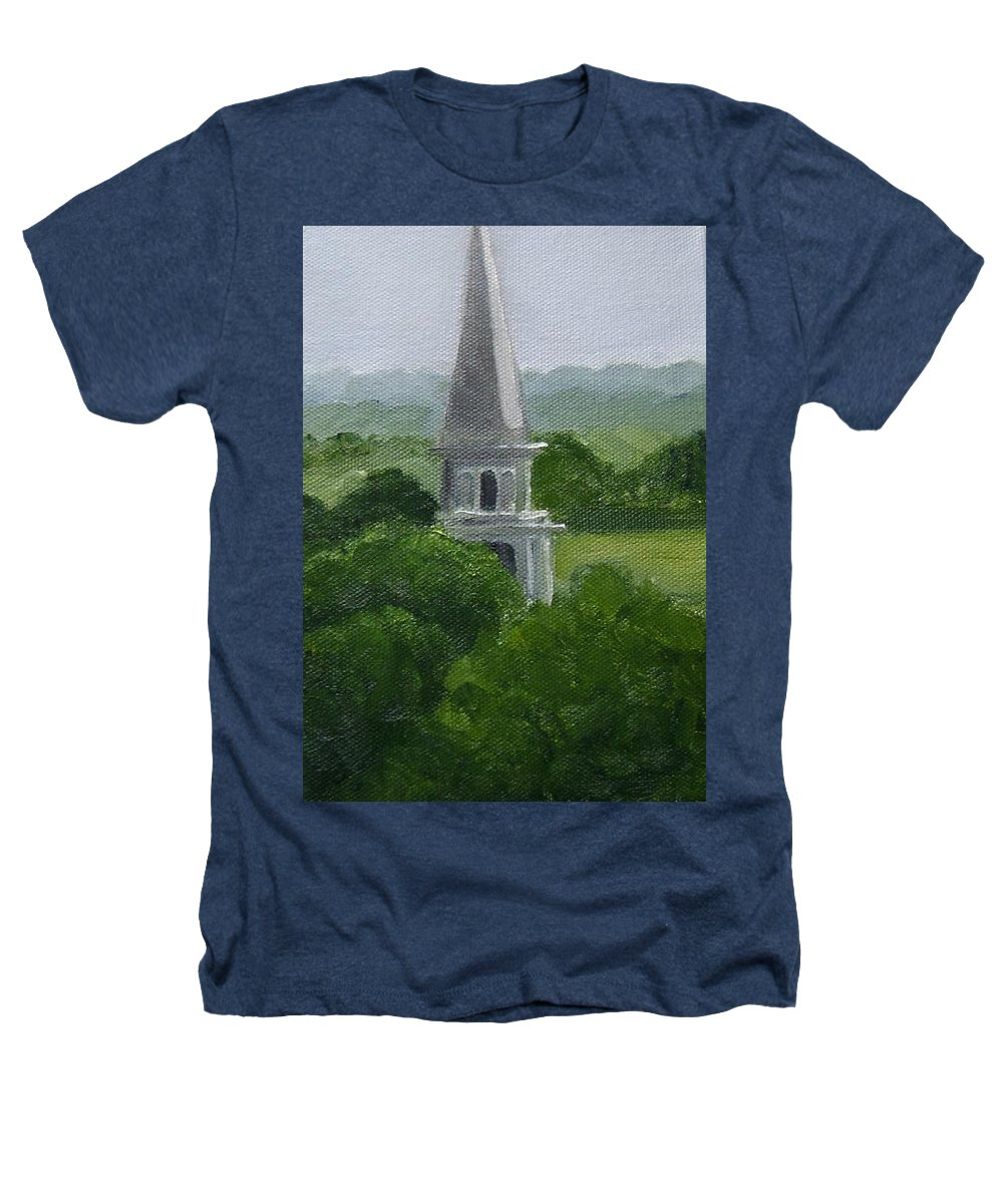 Steeple Heathers T-Shirt featuring the painting Steeple by Toni Berry