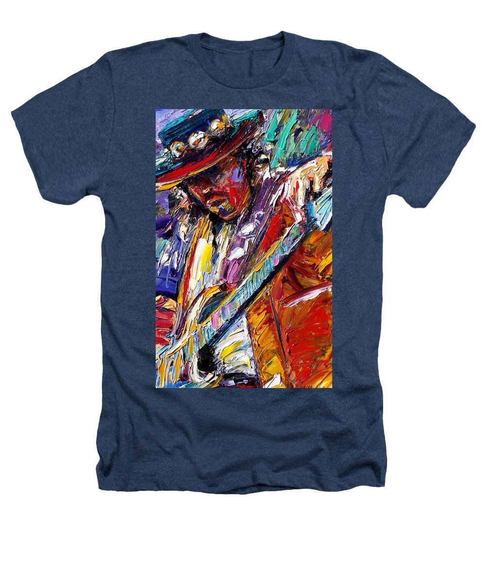 Rock Heathers T-Shirt featuring the painting Stevie Ray Vaughan Number One by Debra Hurd